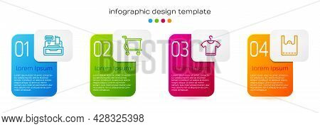Set Line Cash Register Machine, Shopping Cart, T-shirt And Paper Shopping Bag. Business Infographic