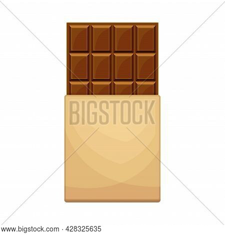 Chocolate Bar Or Candy Bar As Solid Confection In Sweetie Paper Vector Illustration. Dark Cacao Dess