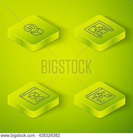 Set Isometric Line 3d Printer, , Setting And Isometric Cube Icon. Vector