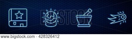 Set Line Mortar And Pestle, Ancient Magic Book, Magic Ball And Fireball. Glowing Neon Icon On Brick