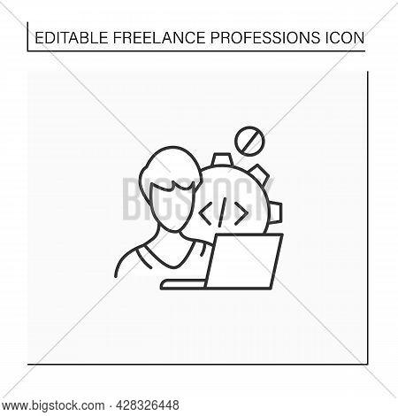 Web Developer Line Icon. Programmer. Development Web Application. Workplace. Freelance Professions C