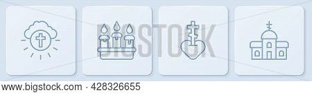 Set Line Religious Cross In Circle, Heart, Burning Candle Candlestick And Church Building. White Squ