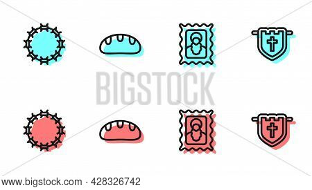 Set Line Christian Icon, Crown Of Thorns, Bread Loaf And Flag With Christian Cross Icon. Vector
