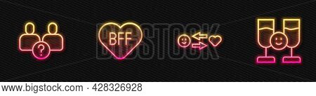 Set Line Romantic Relationship, Complicated, Bff Or Best Friends Forever And Friends Drinking Alcoho