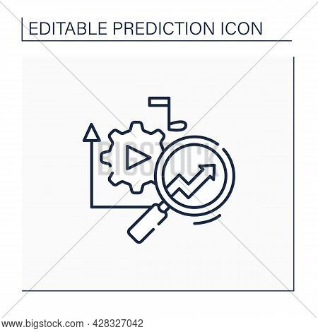 Media Technology Line Icon.predictive Analytics In Media. Research Perfect Customer Products.influen