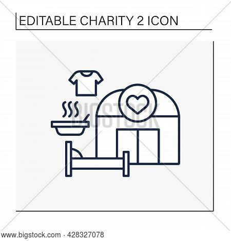 Shelter Line Icon. Temporary Establishment Providing Food And Shelter For Homeless Or Poor People. H