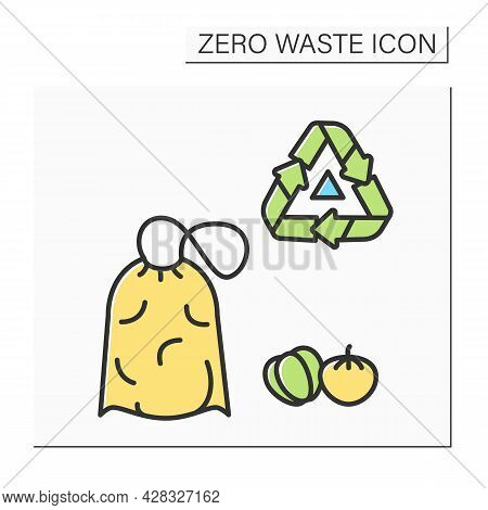 Food Sack Color Icon. Textile Eco Bag For Fruits And Vegetables With Recycling. Concept Of Biodegrad