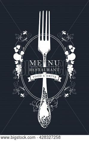 Vector Template Of Restaurant Menu, Decorated With A Beautiful Antique Fork And A Fruit Ornament In