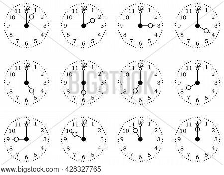 Clock Or Dial Face With All Twelve Full Times On Isolated White Background. One To Twelve Hours.