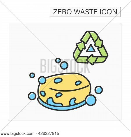 Eco Sponge Color Icon. Bubbly Soap Bar Or Organic Loofah Sponge With Recycling. Concept Of Ecology-f