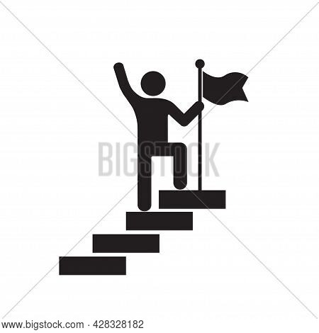 Man With Flag Stendind On The Top Of Staircase Icon Vector Success And Victory Concept For Graphic D