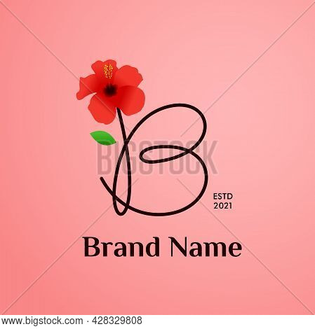 Beauty And Charming Simple Illustration Logo Design Initial B Combine With Shoe Flower.