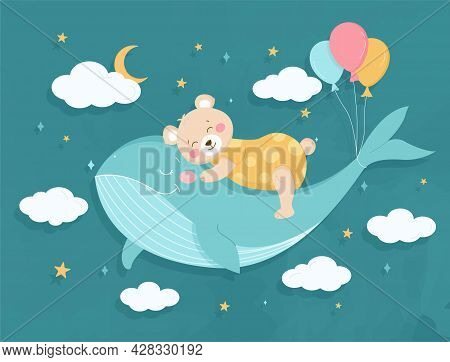 Cute Teddy Bear Is Sleeping On A Fairy Whale. Cartoon Art For Kids, Fabric, Stationery, Clothes And