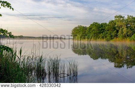 Nice quiet morning landscape on river
