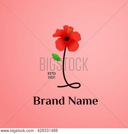 Beauty And Charming Simple Illustration Logo Design Initial I Combine With Shoe Flower.