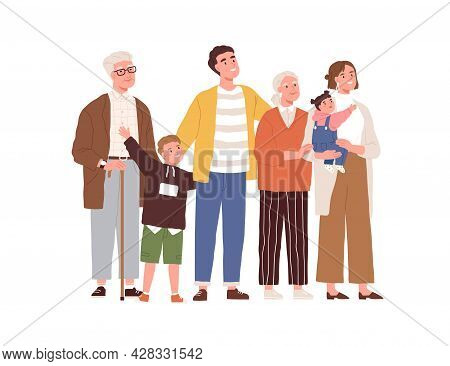 Big Family Looking Up At Smth. Happy Mother, Father, Children And Grandparents Standing Together And