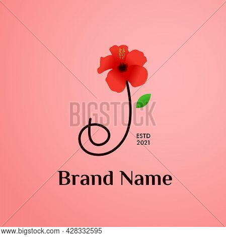 Beauty And Charming Simple Illustration Logo Design Initial J Combine With Shoe Flower.