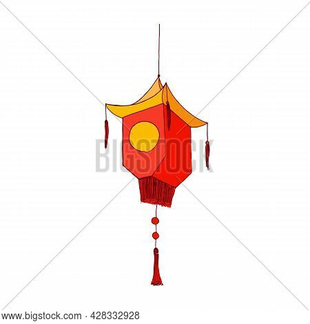 Festive Chinese Paper Lantern With Fringe And Pointed Shape, Hanging On String. Traditional Decorati