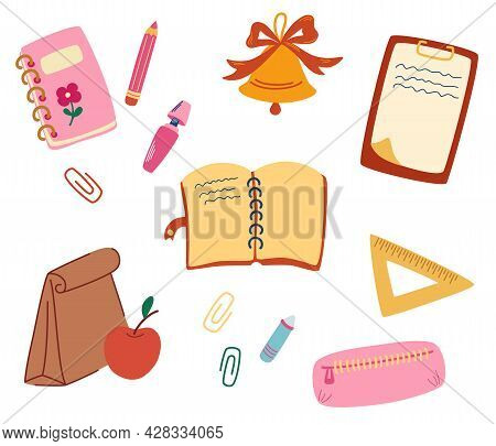 Set Of School Supplies. Back To School. Office Supplies. Bell, Pencil, Case, Notepad, Markers, Penci