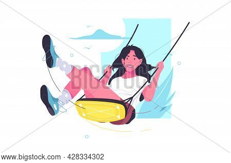 Young Female Character Sitting On Swing Vector Illustration. Leisure Time, Swinging On Swing Flat St