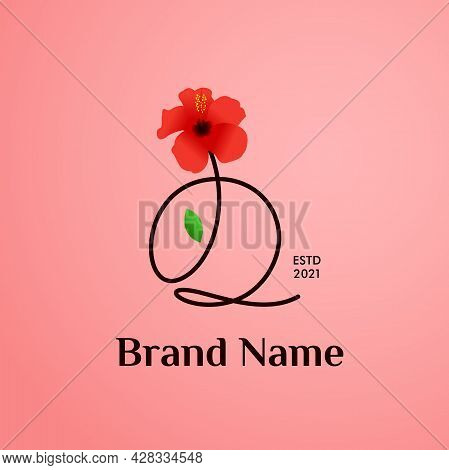 Beauty And Charming Simple Illustration Logo Design Initial Q Combine With Shoe Flower.