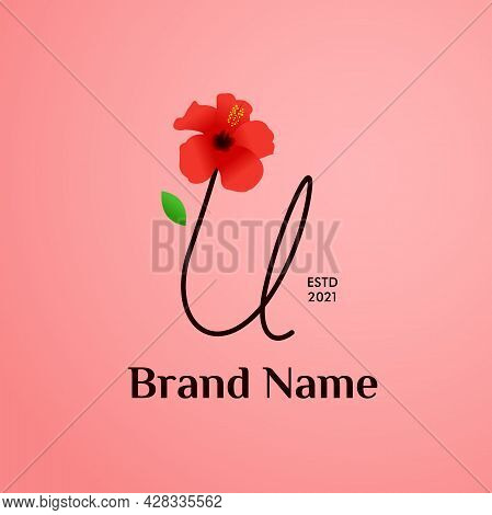 Beauty And Charming Simple Illustration Logo Design Initial U Combine With Shoe Flower.
