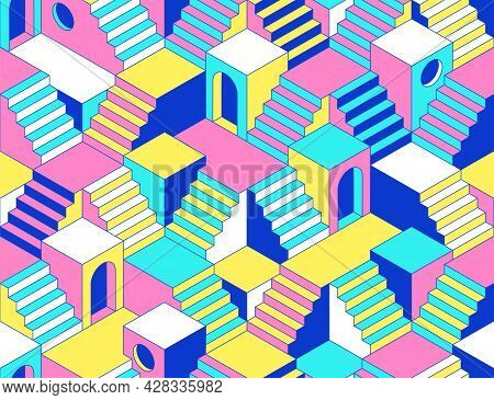 Surreal Seamless Pattern With Stairs, Steps, Labyririnth, Secrets And Arch.