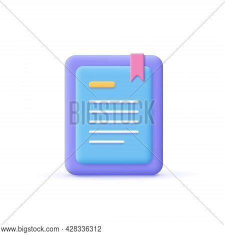3d Cartoon Style Minimal E-book Reader, E-reader, Electronic, Digital Book Icon. Online Education ,