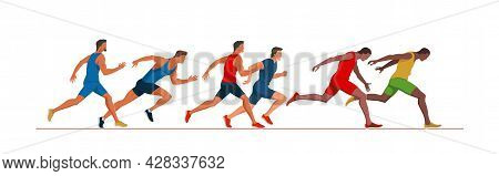 Athletics Scene. Men\'s Track Race. Runners At Finish Line. Athletes Running And Fighting For The Vi
