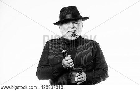 Strange People. Elegant Bartender Wear Hat And Vest Prepare Drink. Horror Party. Frightening Bartend