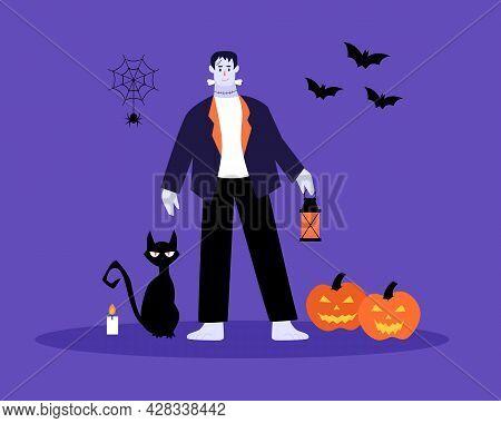 Halloween Characters And Elements. Bat, Cat, Pumpkin, Spider.happy Halloween Concept.vector Illustra