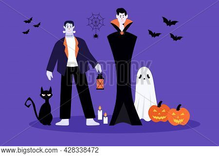 Halloween Characters And Elements.dracula, Bat, Ghost, Cat, Pumpkin, Spider.happy Halloween Concept.