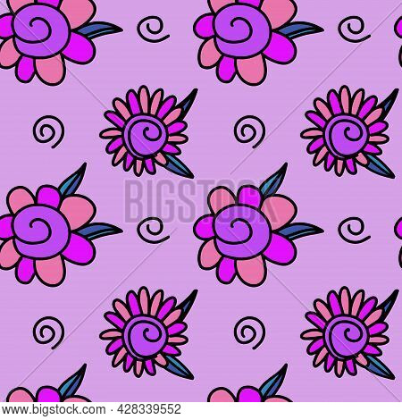 Vector Seamless Pattern With Fantasy Purple Flower And Spiral Hand Drawn Doodle In Simple Childish C