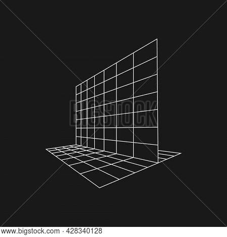 Retrofuturistic Perpendicular Perspective Grids. Cyber Retro Design Element. Grid In Cyberpunk 80s S