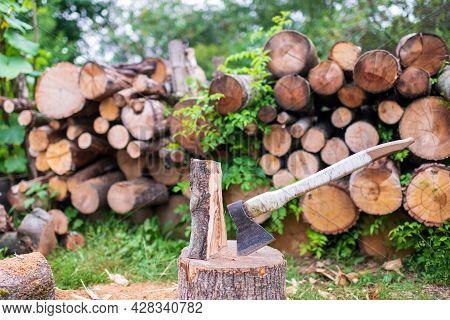 Photography On Theme Big Steel Axe With Wooden Handle