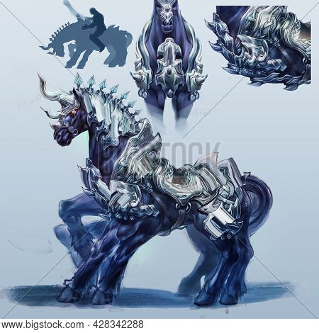 2d Digital Illustration Character Creature Design Concept Of 3 Unicorn Horse Ancient Time With Beaut