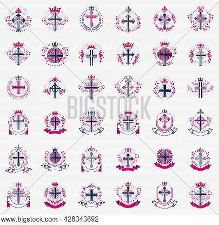 Crosses Secrets Emblems Vector Emblems Big Set, Christian Religion Heraldic Design Elements Collecti