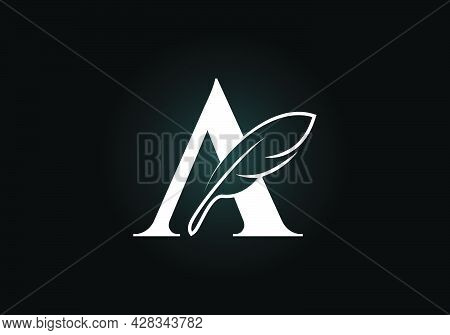 Initial A Monogram Alphabet With A Feather. Font Emblem. Law Firm Icon Sign Symbol. Modern Vector Lo