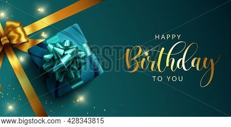 Happy Birthday Vector Template Design. Happy Birthday Greeting Text With Gift And Elegant Ribbon Dec