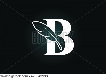 Initial B Monogram Alphabet With A Feather. Font Emblem. Law Firm Icon Sign Symbol. Modern Vector Lo