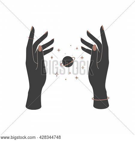 Mystical Celestial Planet Saturn Over Woman Hands. Spiritual Mystical Symbol For Branding Name Logo.