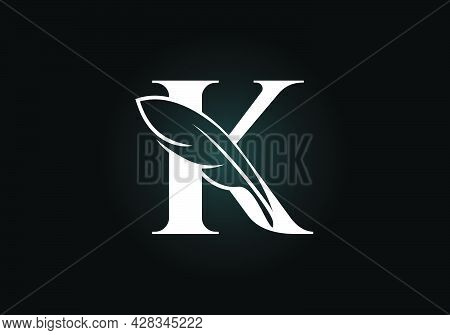 Initial K Monogram Alphabet With A Feather. Font Emblem. Law Firm Icon Sign Symbol. Modern Vector Lo