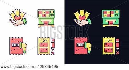 Playing Lotto Games Light And Dark Theme Rgb Color Icons Set. Charity Gambling. Lottery Ticket Vendi