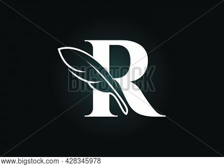 Initial R Monogram Alphabet With A Feather. Font Emblem. Law Firm Icon Sign Symbol. Modern Vector Lo