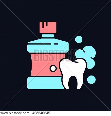 Mouthwash For Teeth Health Rgb Color Icon For Dark Theme. Oral Rinse. Prevent Teeth Decay. Strengthe