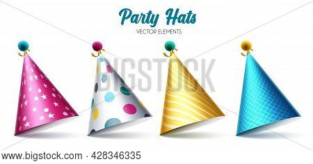 Birthday Party Hats Vector Set. Colorful Hat Elements Isolated In White Background For Celebrating B