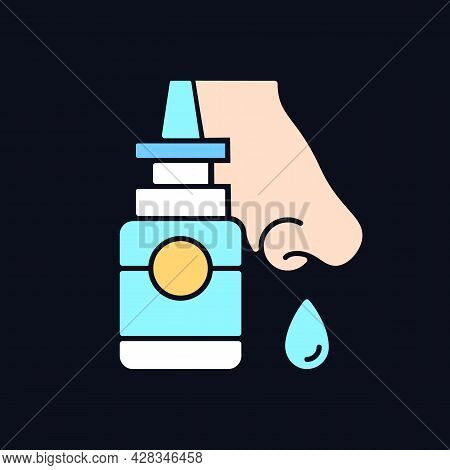Nasal Spray Rgb Color Icon For Dark Theme. Relieve Nasal Discomfort. Cold Relief. Treat Sinus Conges