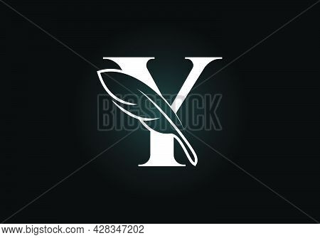 Initial Y Monogram Alphabet With A Feather. Font Emblem. Law Firm Icon Sign Symbol. Modern Vector Lo