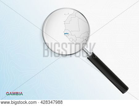 Magnifier With Map Of Gambia On Abstract Topographic Background. Vector Map.