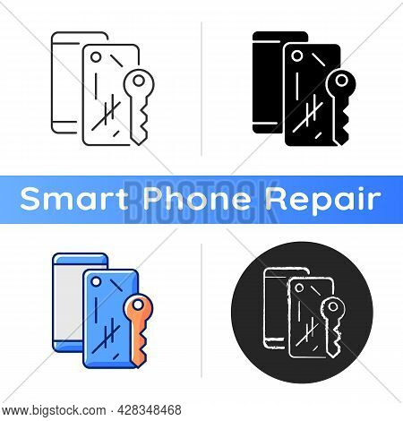 Scratched Housing Icon. Damaged Mobile Phone Case And Housing. Defective Device. Removing Scratches